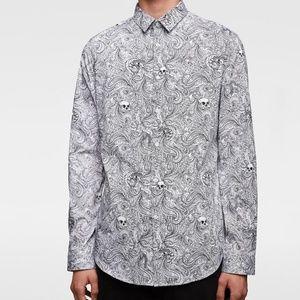 Zara Paisley + Skull Patterned Button-Down Shirt